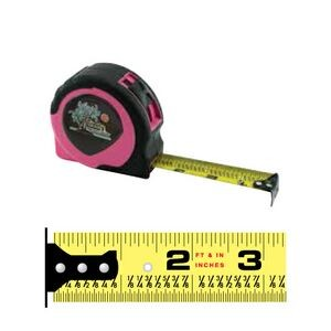 Women's Pink Power Tape Measure w/Laminated or Dome Label (12'x5/8