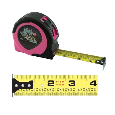"Women's Pink Power Tape Measure w/Laminated or Dome Label (25'x1"" Blade)"