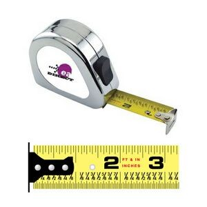 Chrome English Power Tape Measure w/Laminated or Dome Label (25'x1